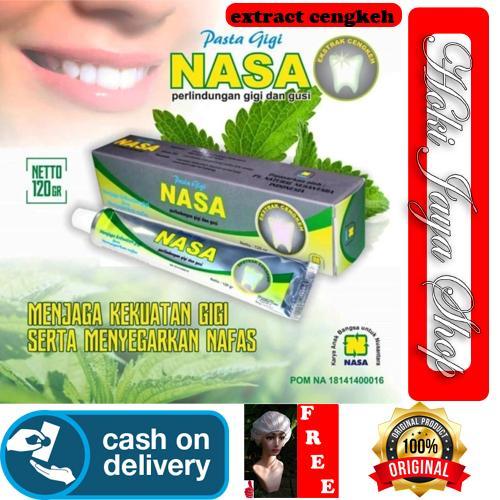 HOKI COD - Pasta Gigi NASA Odol Original 100% Sikat Gigi Herbal Dengan Ekstrak Cengkeh Menjaga Kekuatan Gigi - 1pcs + Gratis Shower Cap Putih - Premium