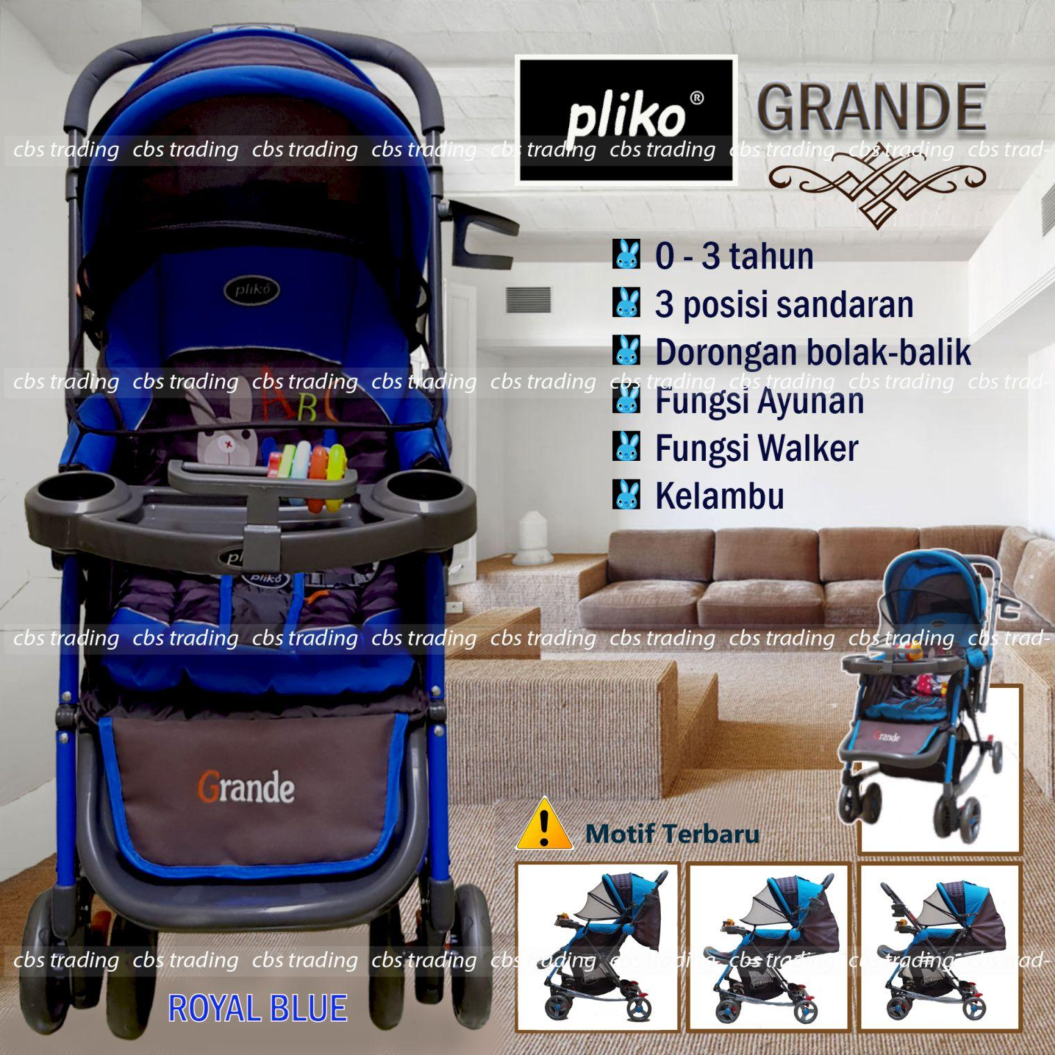 Pliko Stroller New Grande S-268 With 4 in 1 Features - Kereta Dorong Bayi - Royal Blue