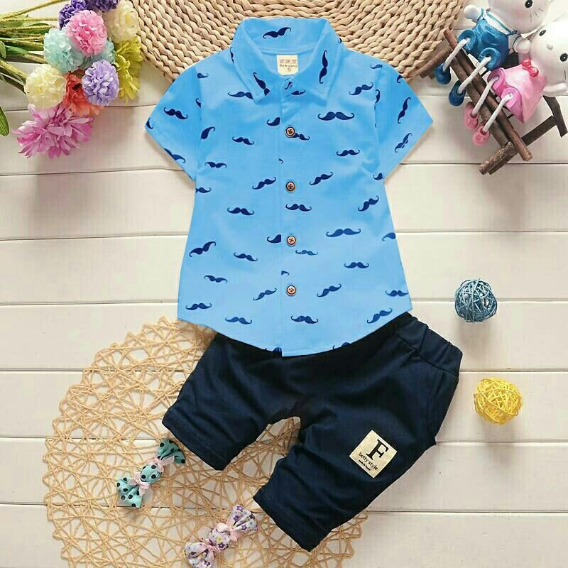 Kaina Shop - Set Baju Kumis Kids - Set Baju Anak