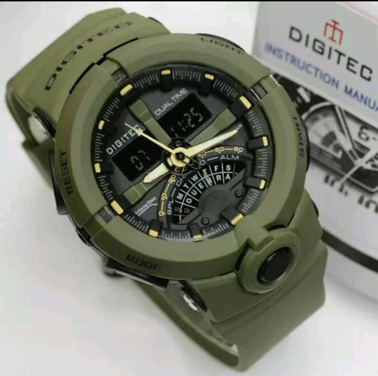 JAM TANGAN DIGITEC 2094 PRIA DUAL TIME BLACK GREEN ORIGINALIDR217500. Rp 217.500