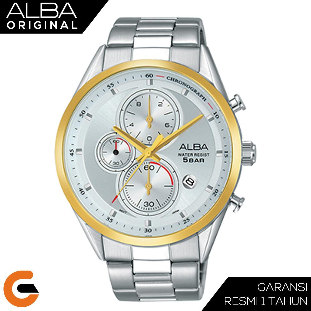 ALBA Chronograph Jam Tangan Pria Tali Stainless Steel Quartz AM342 Series