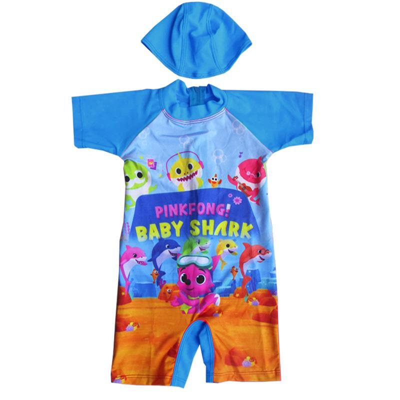 Baju Renang Bayi Karakter Baby Shark Dengan Topi