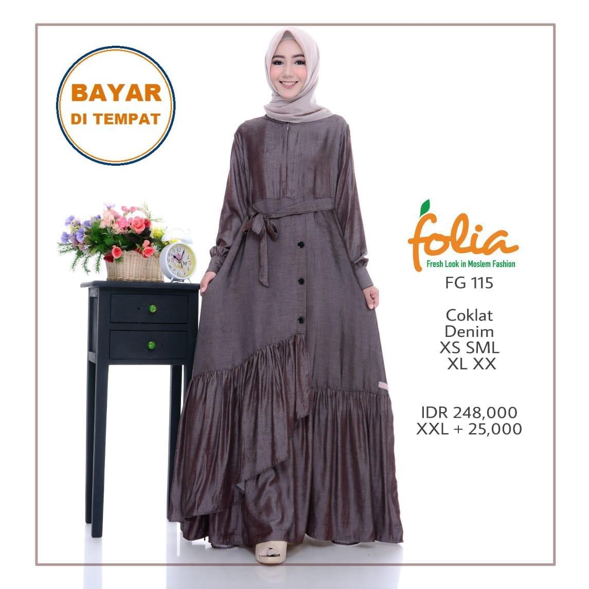 Folia - [COKLAT] Set Gamis muslim Syar'i Busana Muslim Syari Bahan Denim Resleting Busui Friendly Tanpa Hijab (Folia - Coklat FG 115)