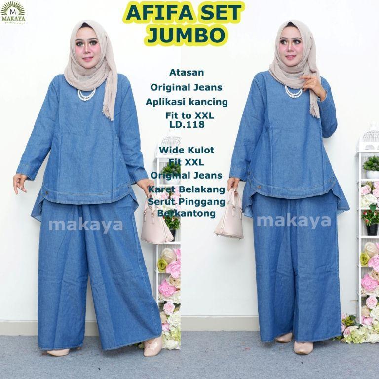afifa set ori makaya setelan blouse kulot jumbo polos jeanswash original premium simple basic
