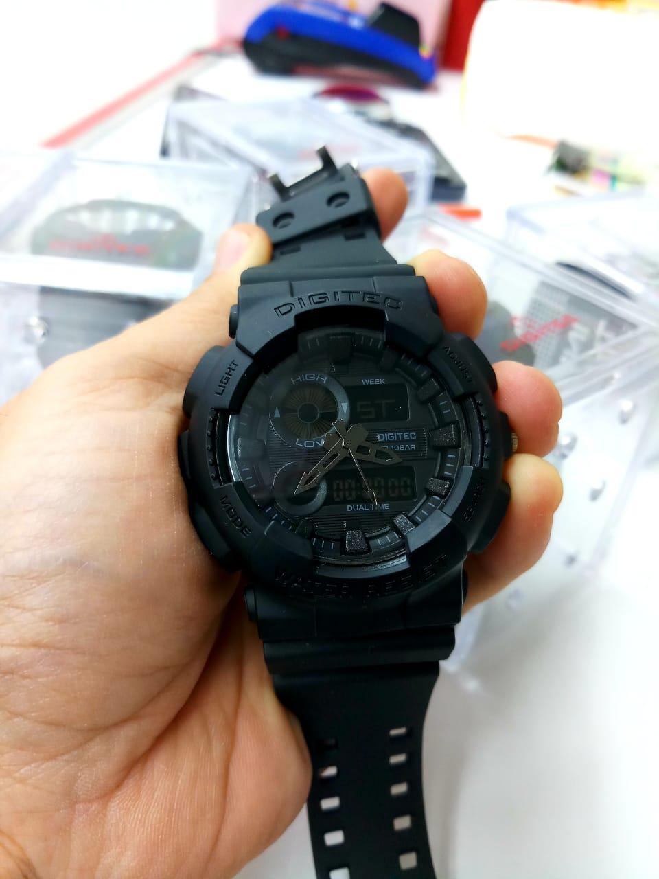 Jam Tangan Sport Dual Time DIGITEC DG-Series Water Resistant Black DOB