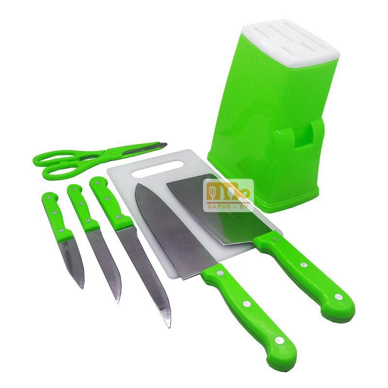 Q2 Pisau Dapur Set / Knife Set Stainless Steel + Talenan - 8 Pcs / Pisau Set / Pisau Dapur Set / Talenan Plastik By Toko David.