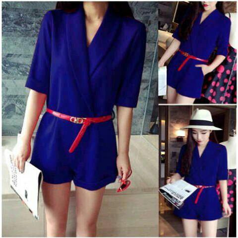 vshopjkt Belt sica playsuit Fashionable blouse bagus blus bagus kualitas baik baju wanita atasan wanita top