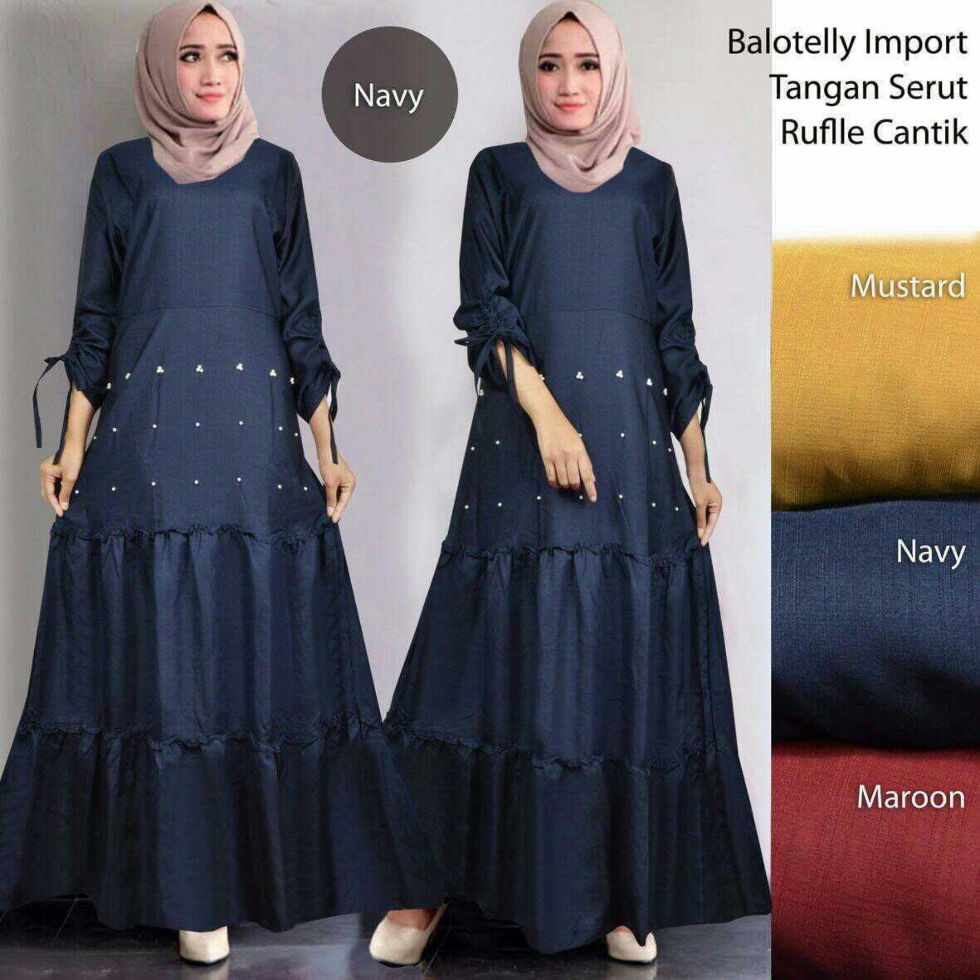 Jual Gamis Terbaru Terlengkap Khimar Panjang Pinguin Maxi Dress Lengan Baloteli Msr307 Syari Kasual Gaun Pesta Muslimah Baju