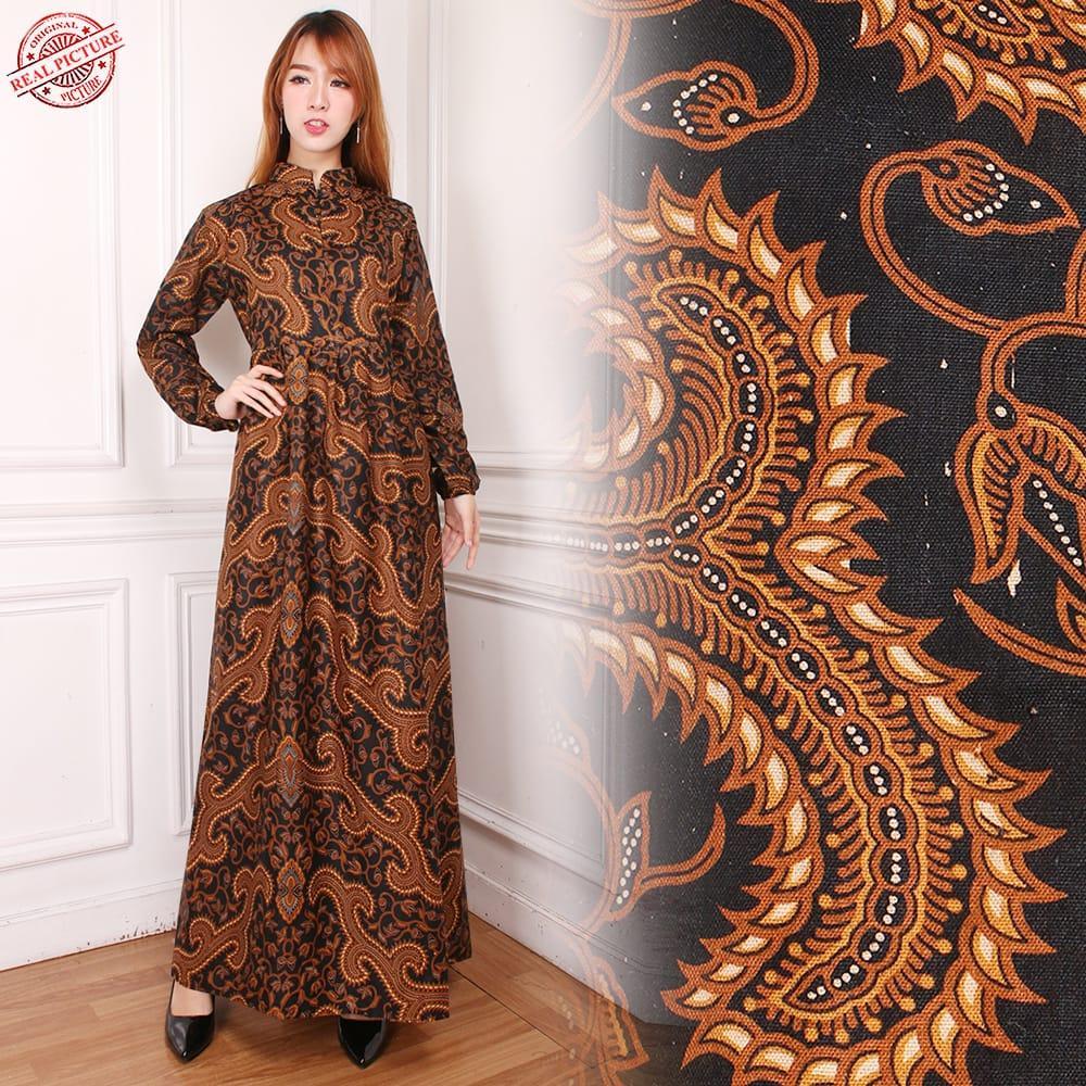 TJ Collection Gamis Futhia Long Dress Batik Wanita All Size Cokelat