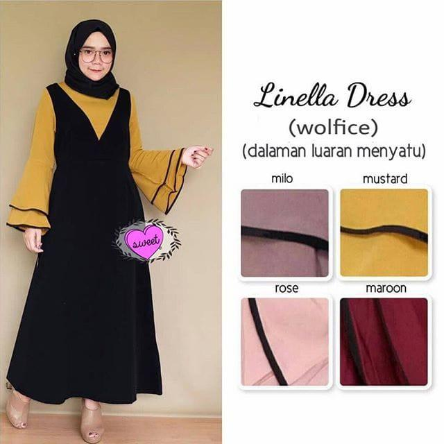 Linella dress / longdress setelan overall rok gamis baju muslim remaja (marron)