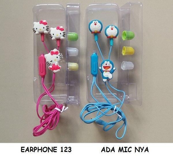 Handsfree/Headset/Earphone LUCU/BUAT SEMUA HP DORAEMON / HELLO KITTY Karakter + MIC (bisa buat menelpon)