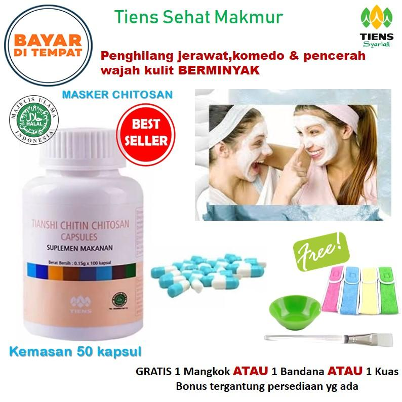 Tiens Masker Chitosan Herbal Anti Jerawat - Paket 50 Kapsul obat jerawat masker kulit berminyak &