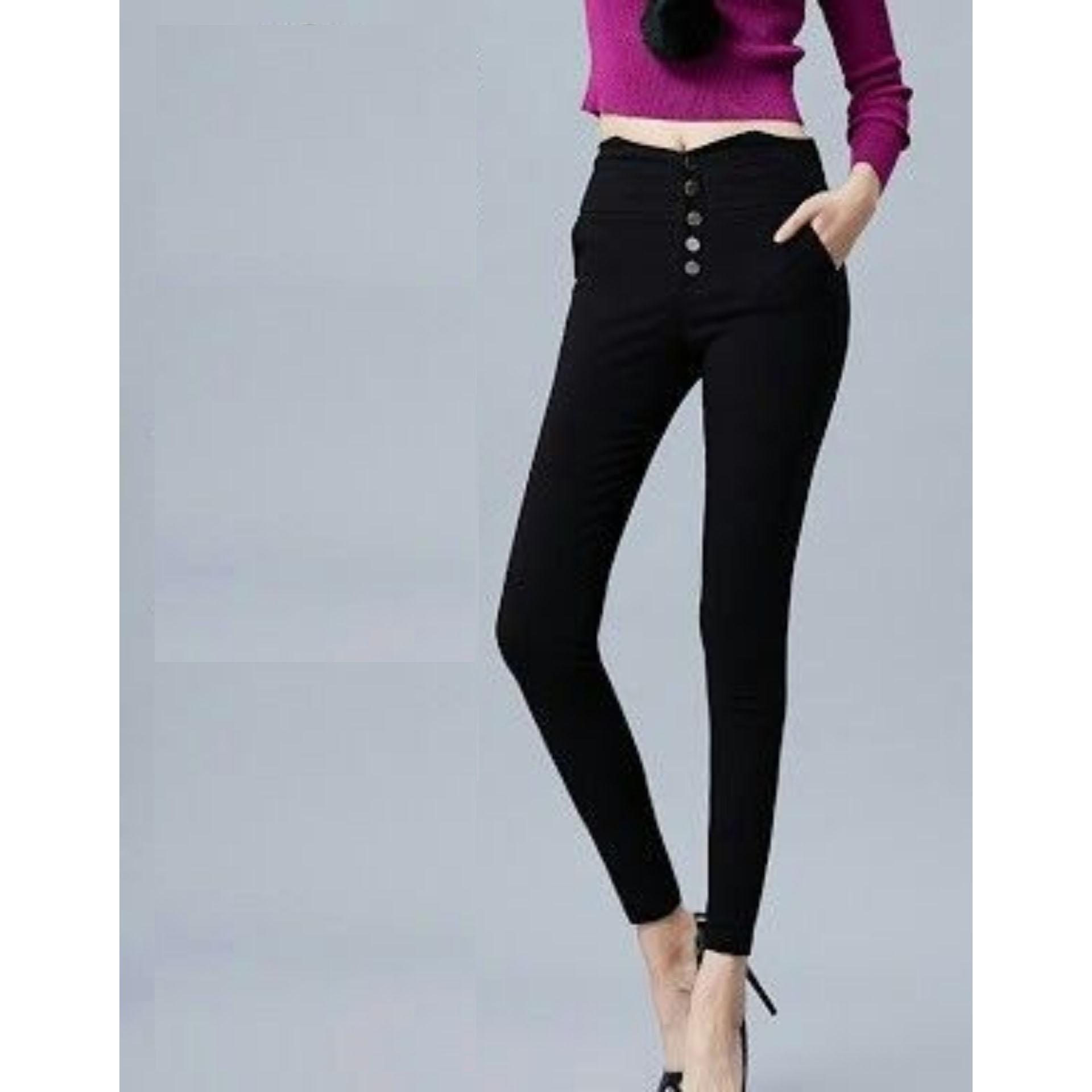 celana jeans wanita higwaist kancing lima hitam navy esblue