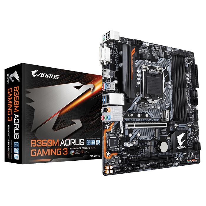Gigabyte Motherboard B360M Aorus Gaming 3 - Socket 1151 DDR4 - Hitam