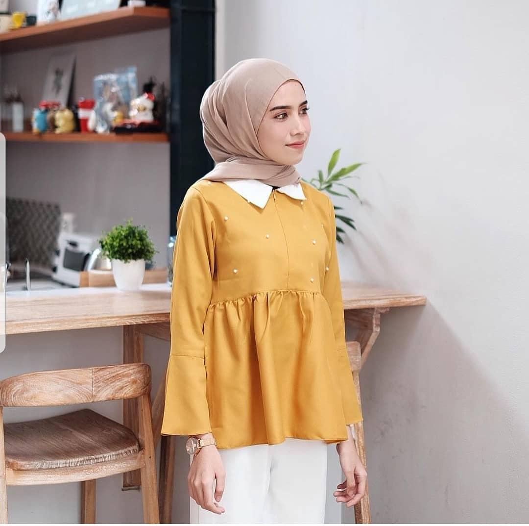 Blouse Maika Blus Balotelly Baju Wanita Panjang Baju Muslim Simple Modis Pakaian  Kerja Casual Modern Baju 9a2de73cef