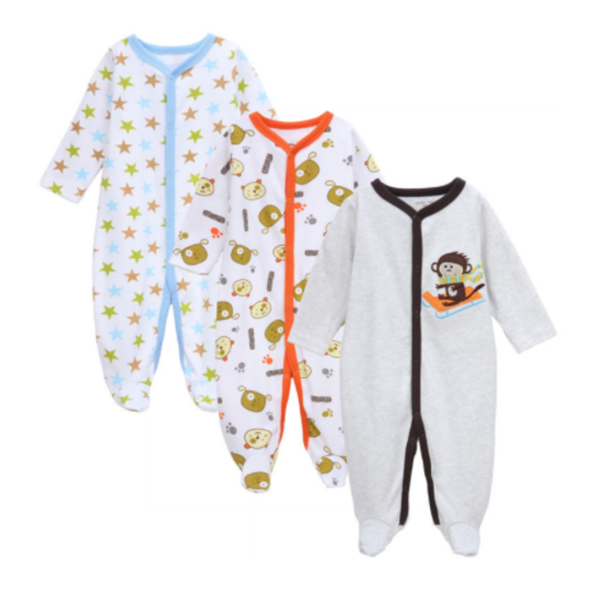 WULANDA rompers nex multiwarna baju kodok bayi jumpsuit overall jamper bayi isi 3 pcs tutup kaki
