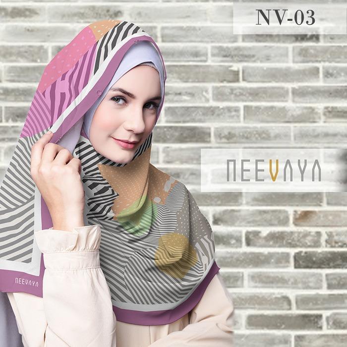 Hijab Jilbab Scarf Segi Empat Print Voal Premium Neevaya NV03
