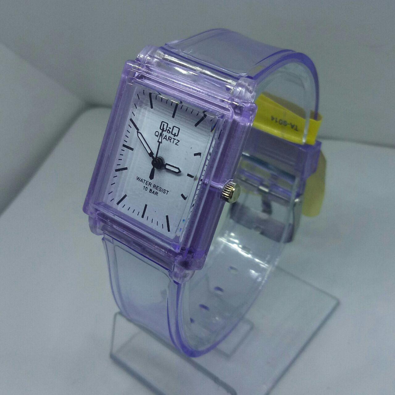 QnQ QQ Q&Q Original - jam tangan wanita sporty model terbaru kotak - tali karet transparan