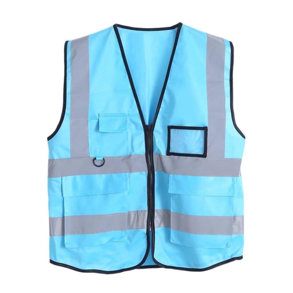 Warnawarni HI-VIS Jaket Rompi Reflektif Keselamatan Keamanan 5 Nagano (Biru)