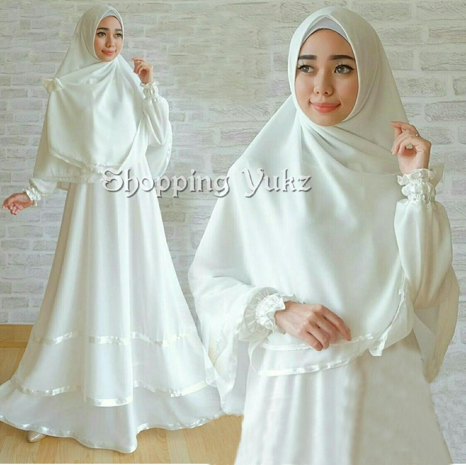 Shopping Yukz Baju Gamis Muslim Syari FITRI - PUTIH ( Dapat Jilbab ) /Dress Muslim / Fashion Muslim / Baju Muslimah / Gaun Muslim / Gamis Wanita / Hijab Muslim/ Gamis Murah