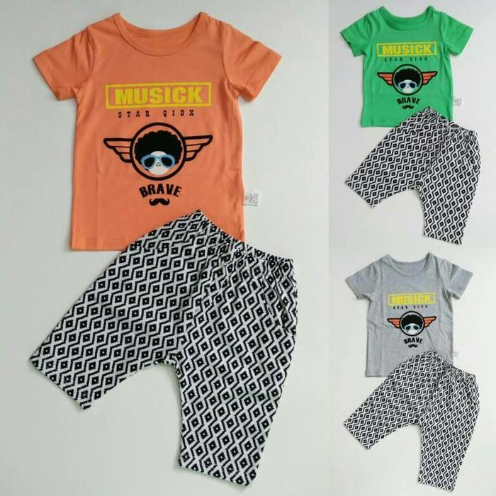 Dijual Baju Setelan Anak Laki Cowok Import Music Brave Celana Motif Zigzag Limited