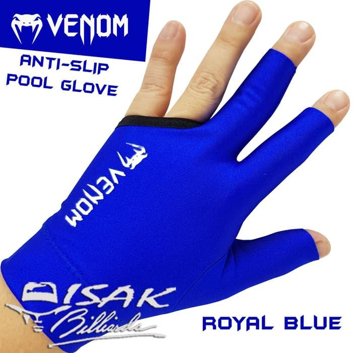 BEST SELLER!!! Venom Pool Glove - Anti Slip Blue - Sarung Tangan Biliar Billiard Open - iOCmq5