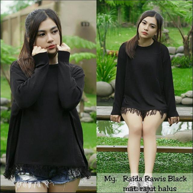 Sweater Rajut Raida Rawis Wanita Premium - Hitam 32504d48a4