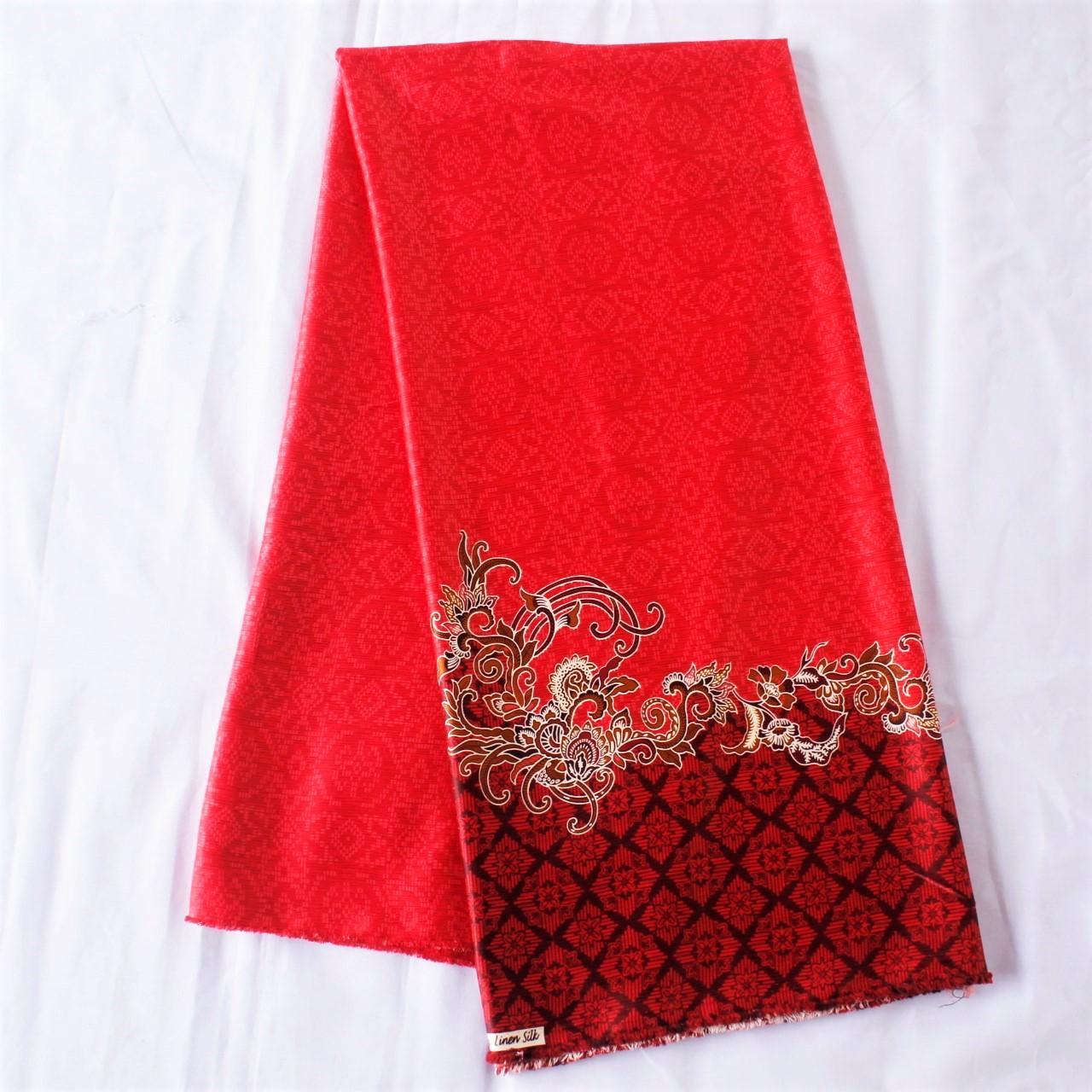 KBS019 Kain Batik Sutra Halus Meteran Bahan Rok Bawahan Kebaya Modern
