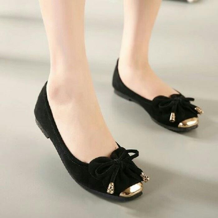Sandal Wanita Flat Model Pita Kupu2 warna Hitam