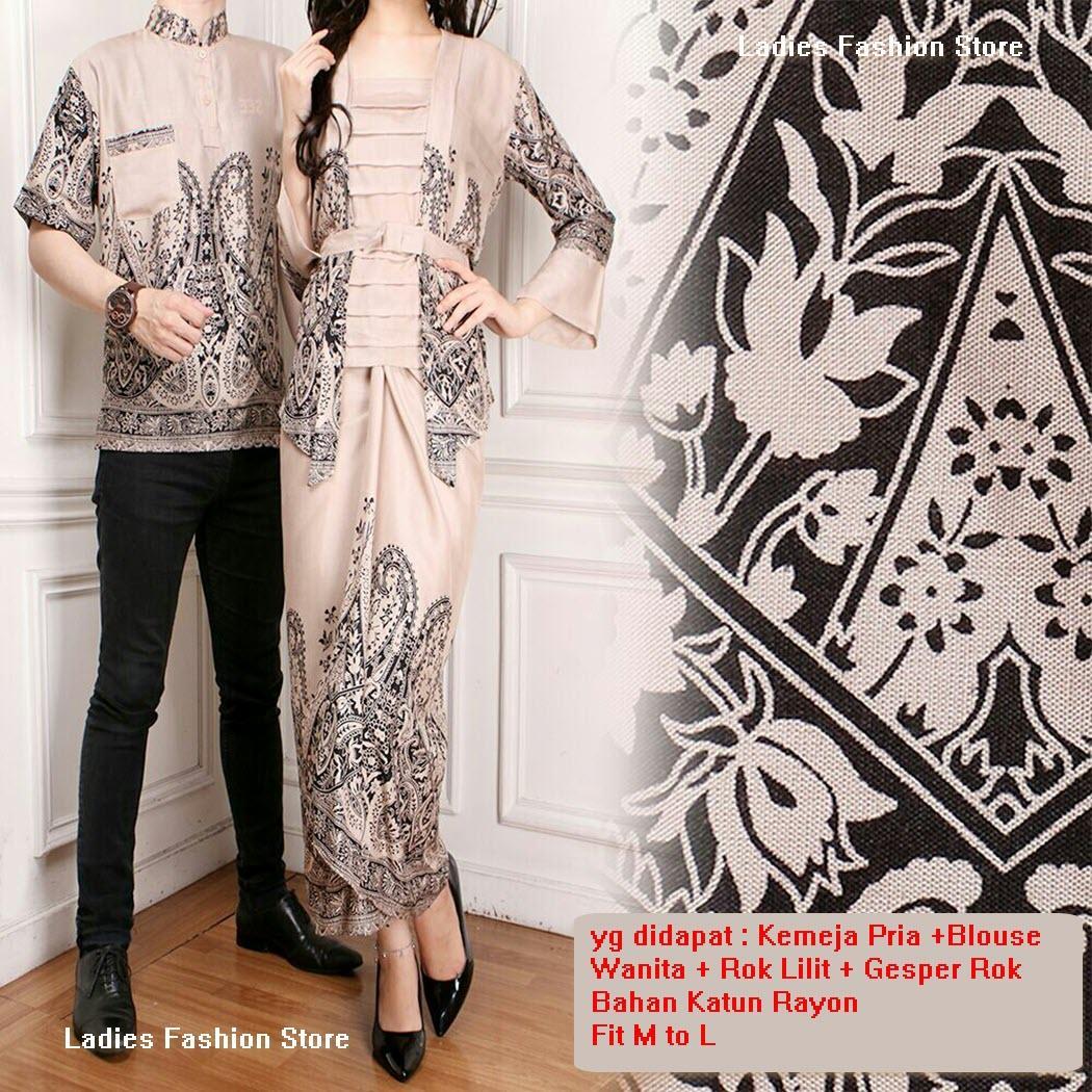 Baju Batik Pasangan / Kemeja Batik Pria dan Dress Batik Wanita Couple / Batik Couple Pasangan / Batik Couple Modern / Batik Pekalongan / Batik Gamis / Atasan Batik Wanita / Batik Kemeja Pria / Setelan Batik Model Baru Murah (Batik nnesava) 7T - HITAM MOCA
