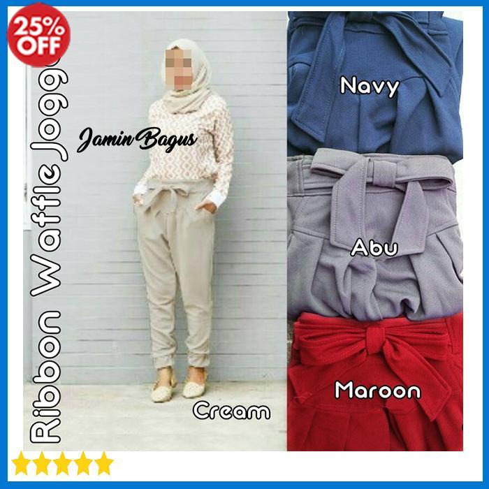 Diskon Celana Jogger Wanita Muslim Super Murah RIBBON WAFFLE JOGGER Tunik Bahan Wafel Ukuran Allsize