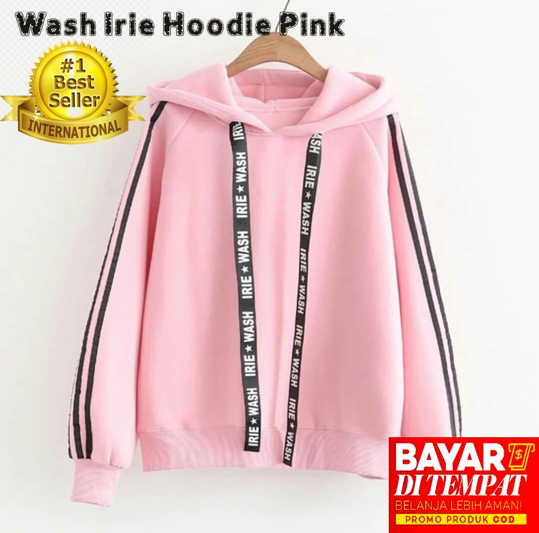 Sweater Wanita Crop Unicorn I Believe HF158. Source · Sweater Wanita Korean Style - Wash Irie Hoodie Pink