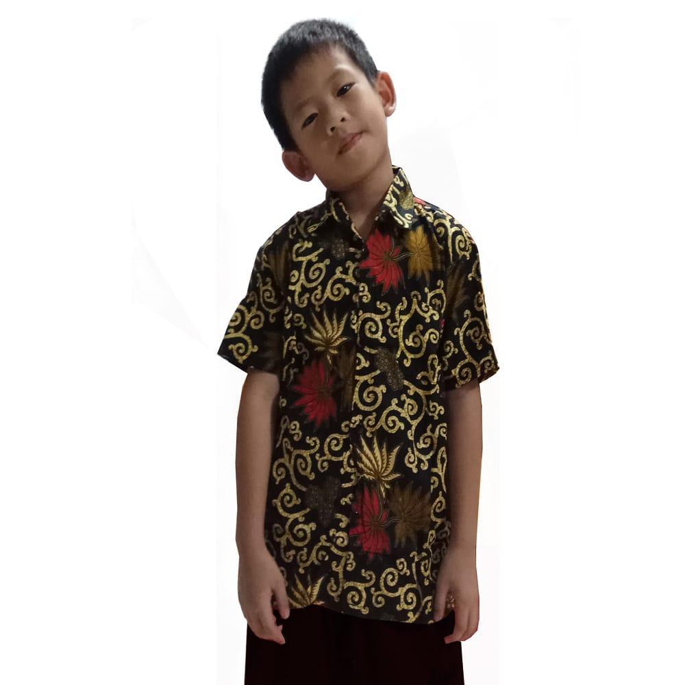 Glow fashion Atasan kemeja batik anak pria jumbo short shirt Dion