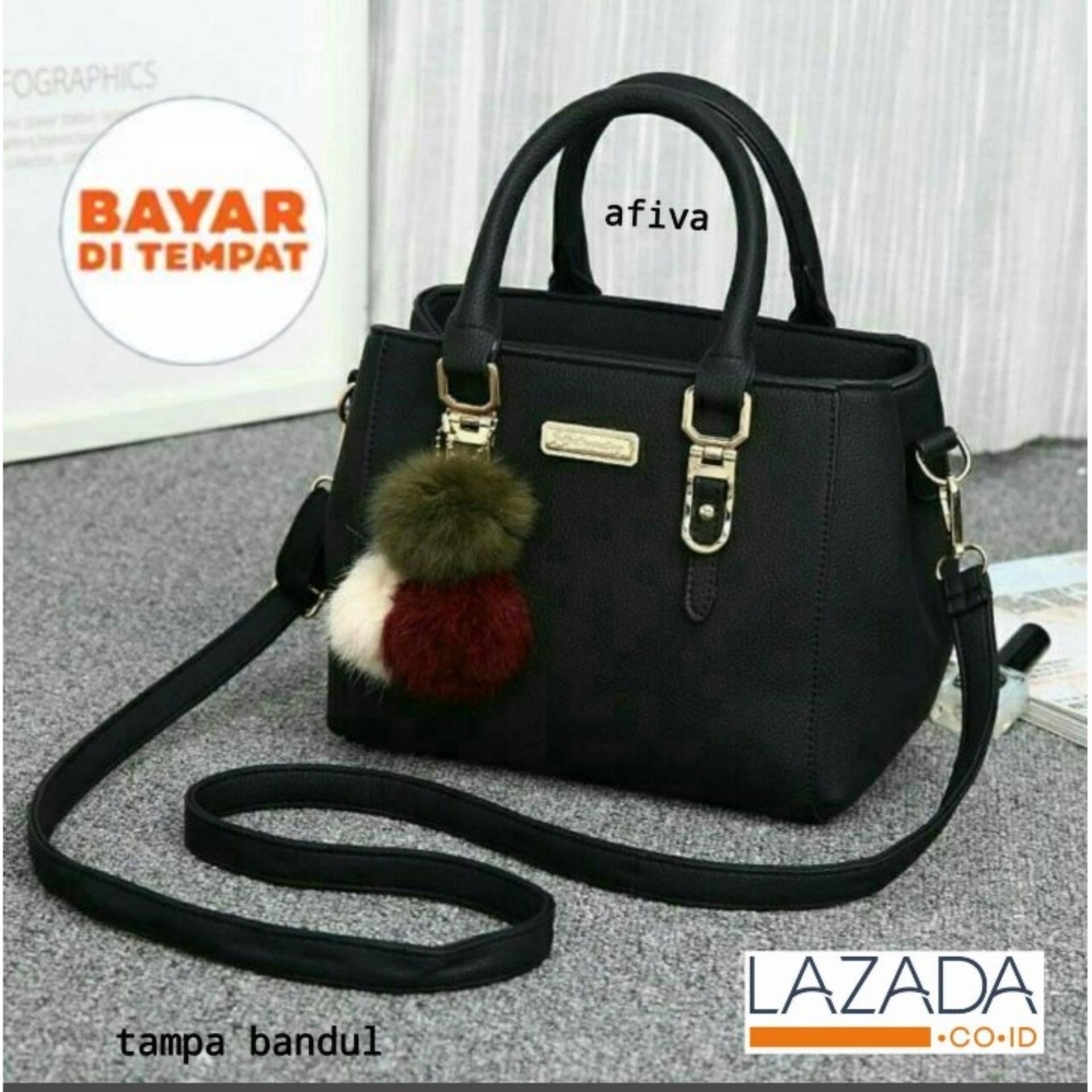 QuincyLabel Tas Wanita Women Fashion PU Tote Leather Handbags Shoulder Bags - Hitam FASHION BANDOENG tas