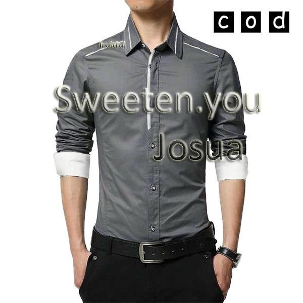 Sweeten.you Baju Kemeja Hem Kantor Casual Lengan Panjang Pria .