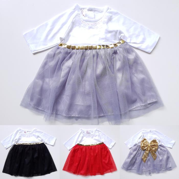 Dress Baju Pesta Anak Bayi Perempuan Putih Tutu Pita Manik Gold Murah