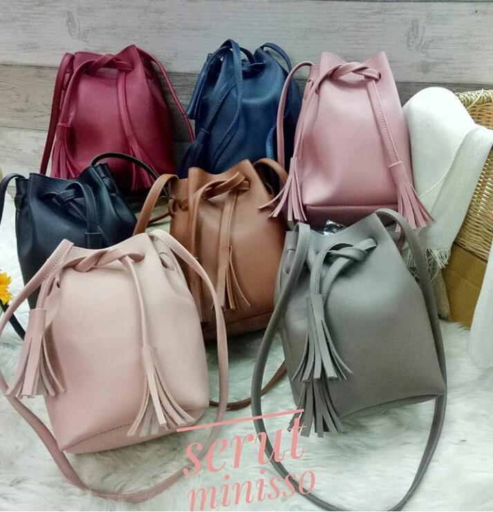 Anischa - Tas Wanita / Sling Bag Miniso Serut / Tas Miniso Serut Murah / Dompet Wanita / Sling Mini