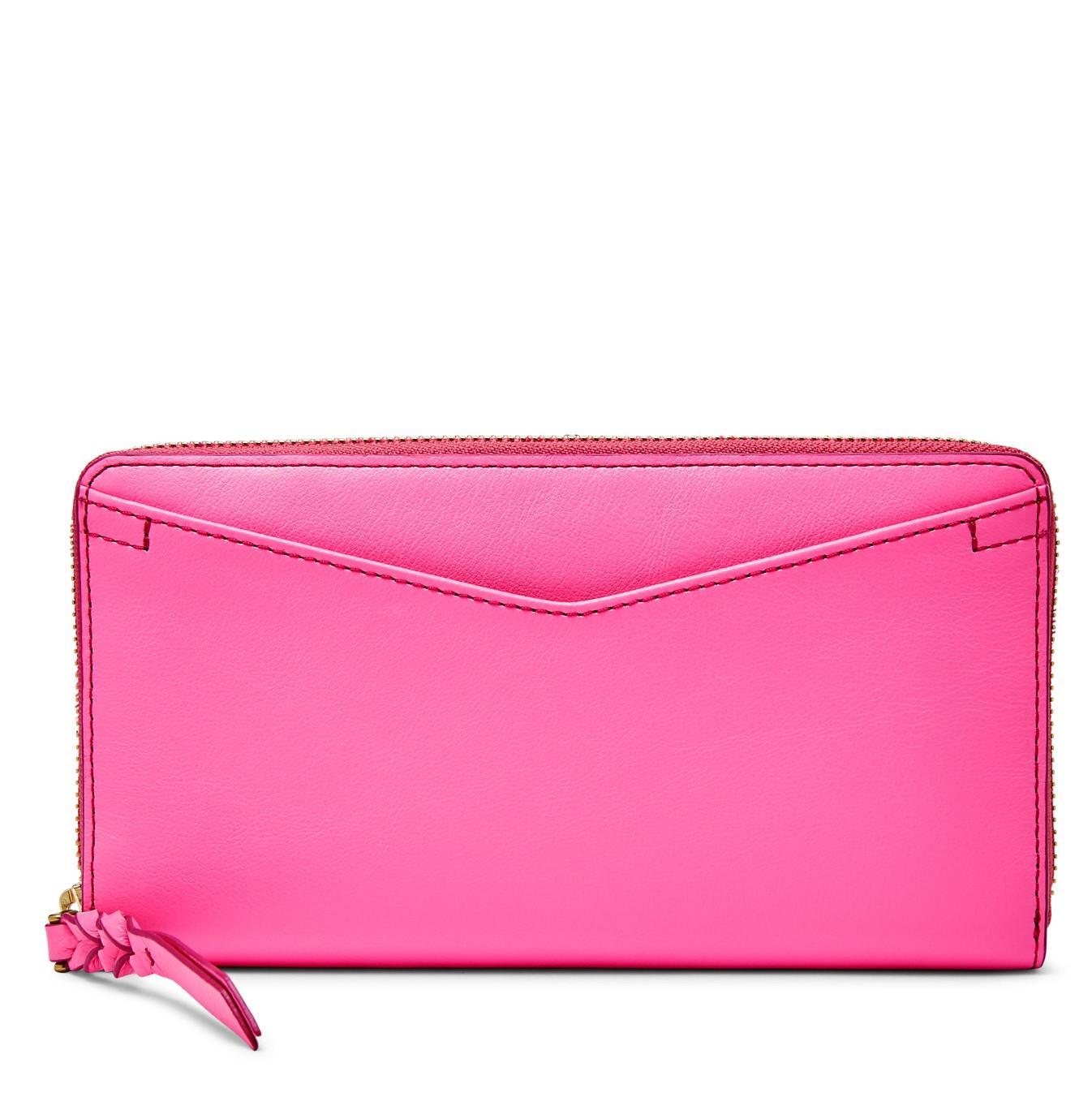 Fossil Caroline RFID Zip Wallet – Neon Pink, SL 7354673