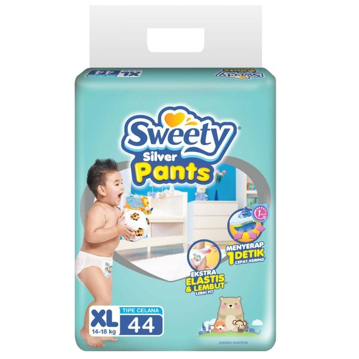 Sweety Silver Pants Popok Bayi dan Anak Unisex Diapers Tipe Celana Size XL - 44 Pcs ( 2 Pack = 88 Pcs )