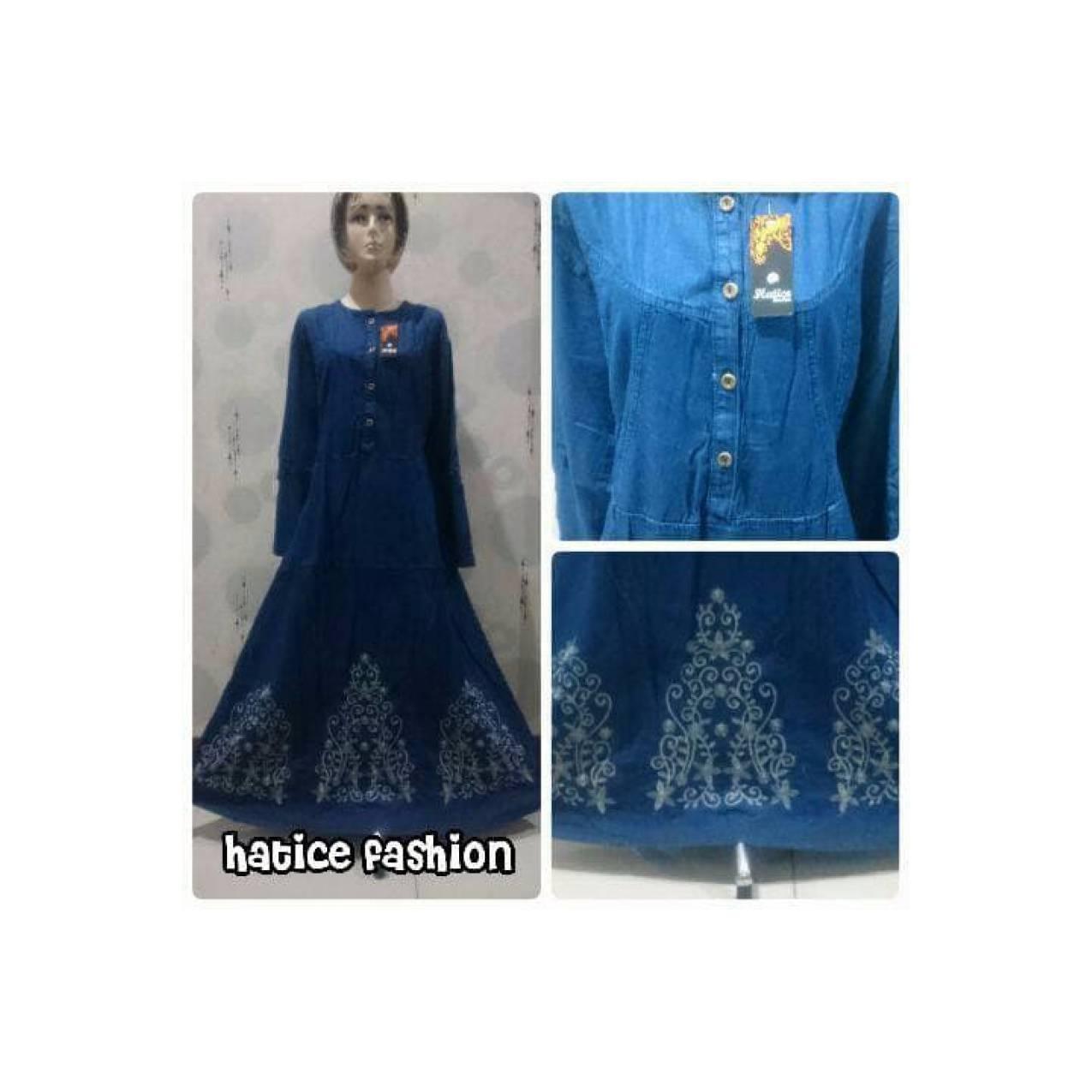 Jakarta XXL Gamis Jeans Jumbo Bordir Payung L6 Elegant