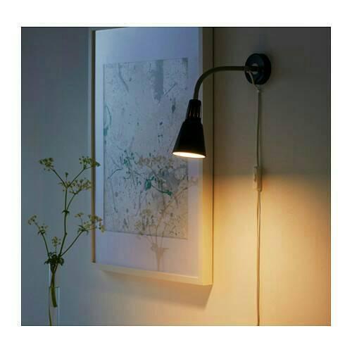 IKEA KVART Lampu sorot jepit, lampu dinding hitam