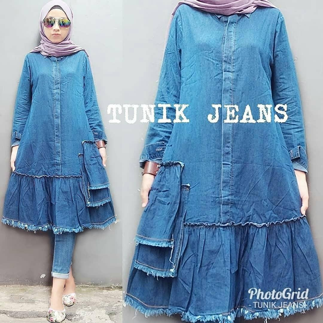 Atasan Baju Muslimah New Tunik Jeans Gamis Panjang Hijab Casual Pakaian Wanita Hijab Modern @rk