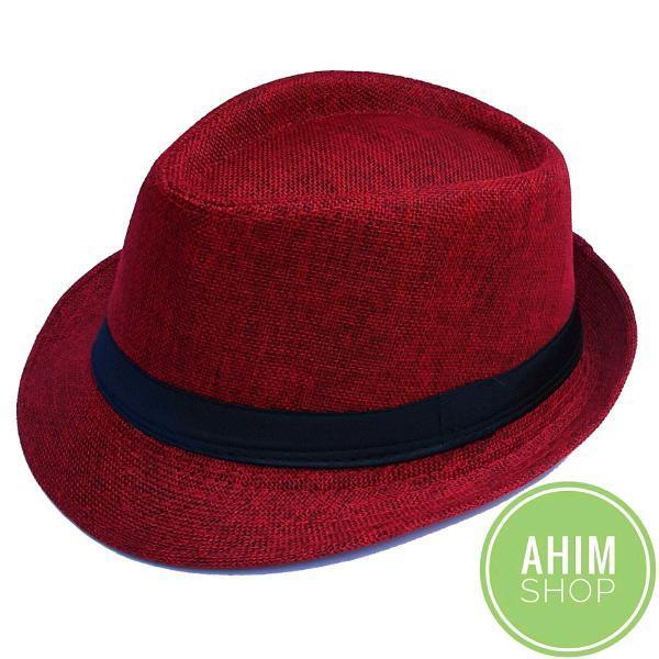 TOPI JAZZ ANTI KUSUT Pria Wanita Tompi Fashion Fedora Panama Caplin Bowler Hat by Ahim Shop warna Maroon