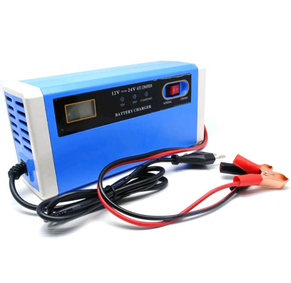 Cas Aki Gas Battery Charger Accu Mobil Motor 12-24V 10A Dengan LCD - Blue