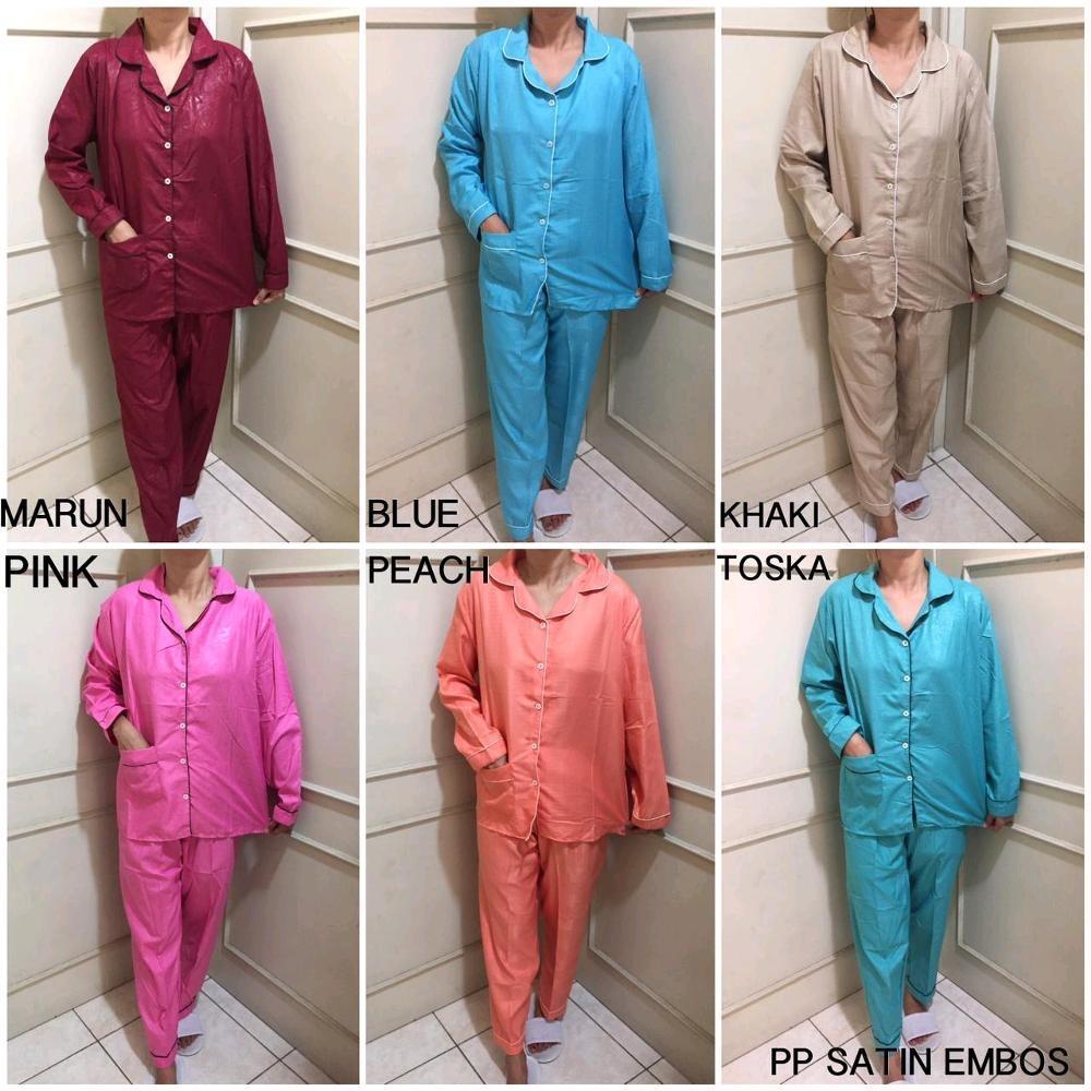 Baju Tidur Atau Santai Lengan Panjang Berbahan Premium Satin Polos - ( All Size )