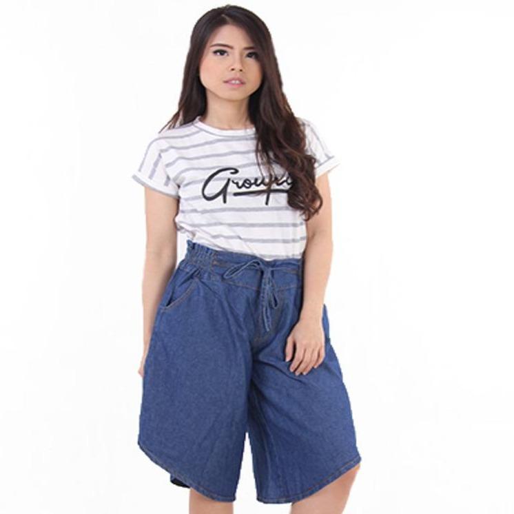JSK Celana pendek wanita kulot jeans pinggang karet kaki lebar Allsize 3 warna
