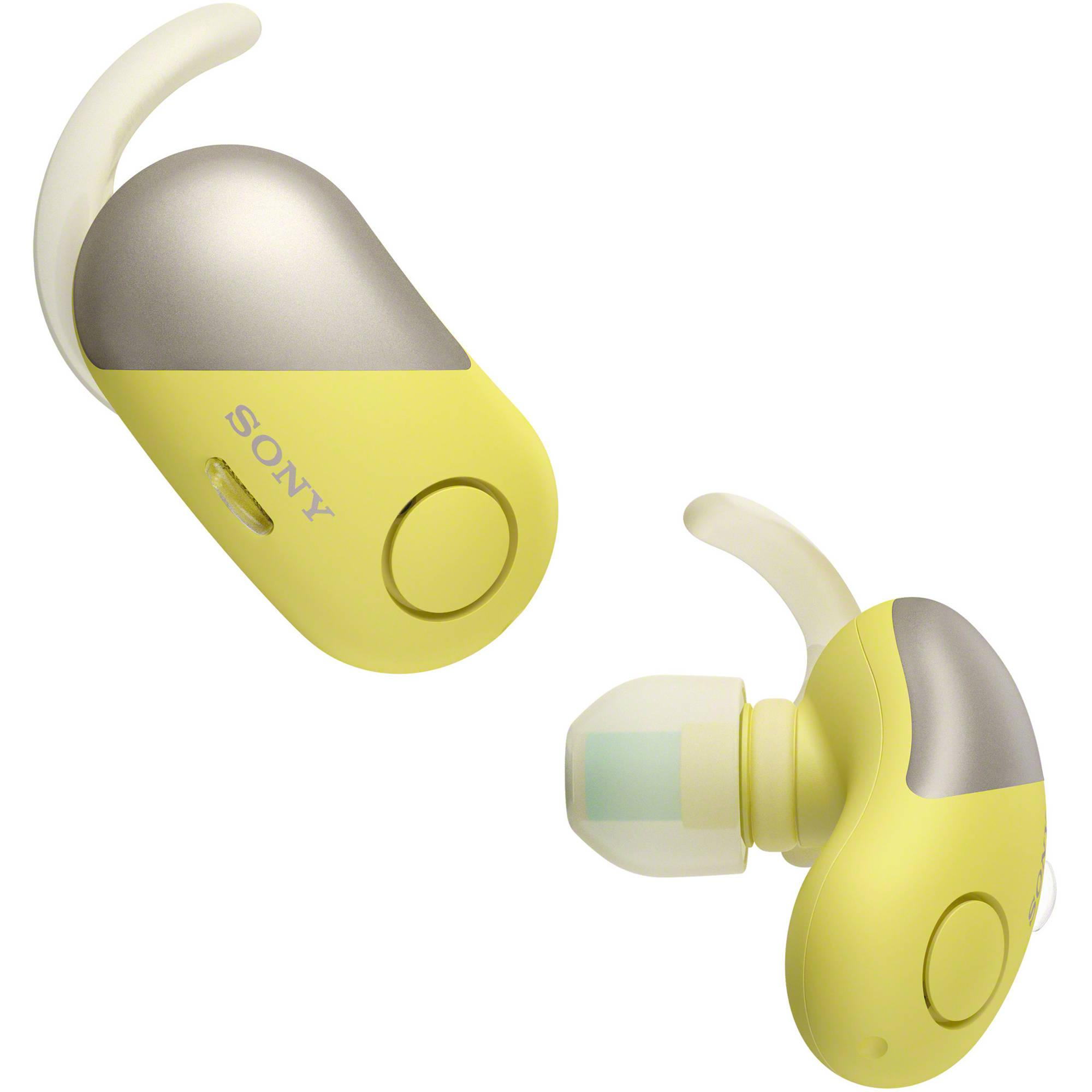 Sony Original WF-SP700N / WF SP700N / WFSP700N / SP700 Yellow Wireless Noise Canceling Sports In-Ear Headphones With Mic - headset warna Kuning garansi resmi 1 tahun Sony Indonesia
