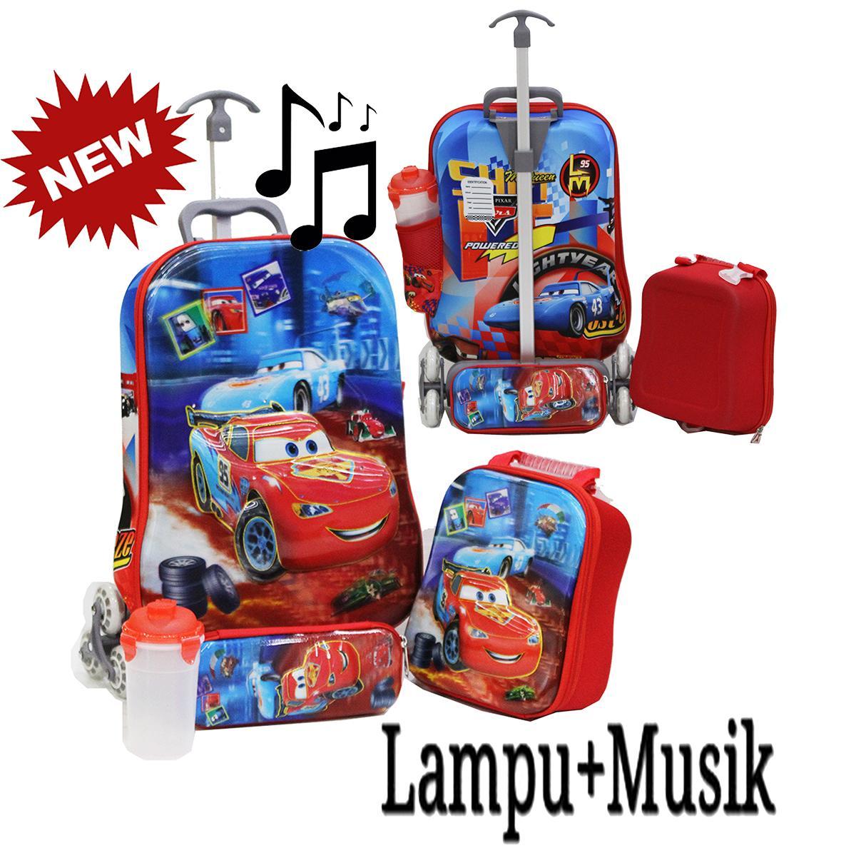 Onlan KOPER SET 6 Roda Tas 4in1 Anak Sekolah SD Motif Karakter CARS MCQUEEN 5D Hologram ada LAMPU DAN MUSIC Import ( KODE MM )
