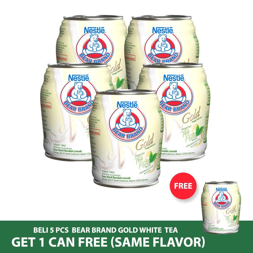 BEAR BRAND Milk White Tea Minuman Siap Minum 140ml [5 Pcs] Gratis 1 Kaleng