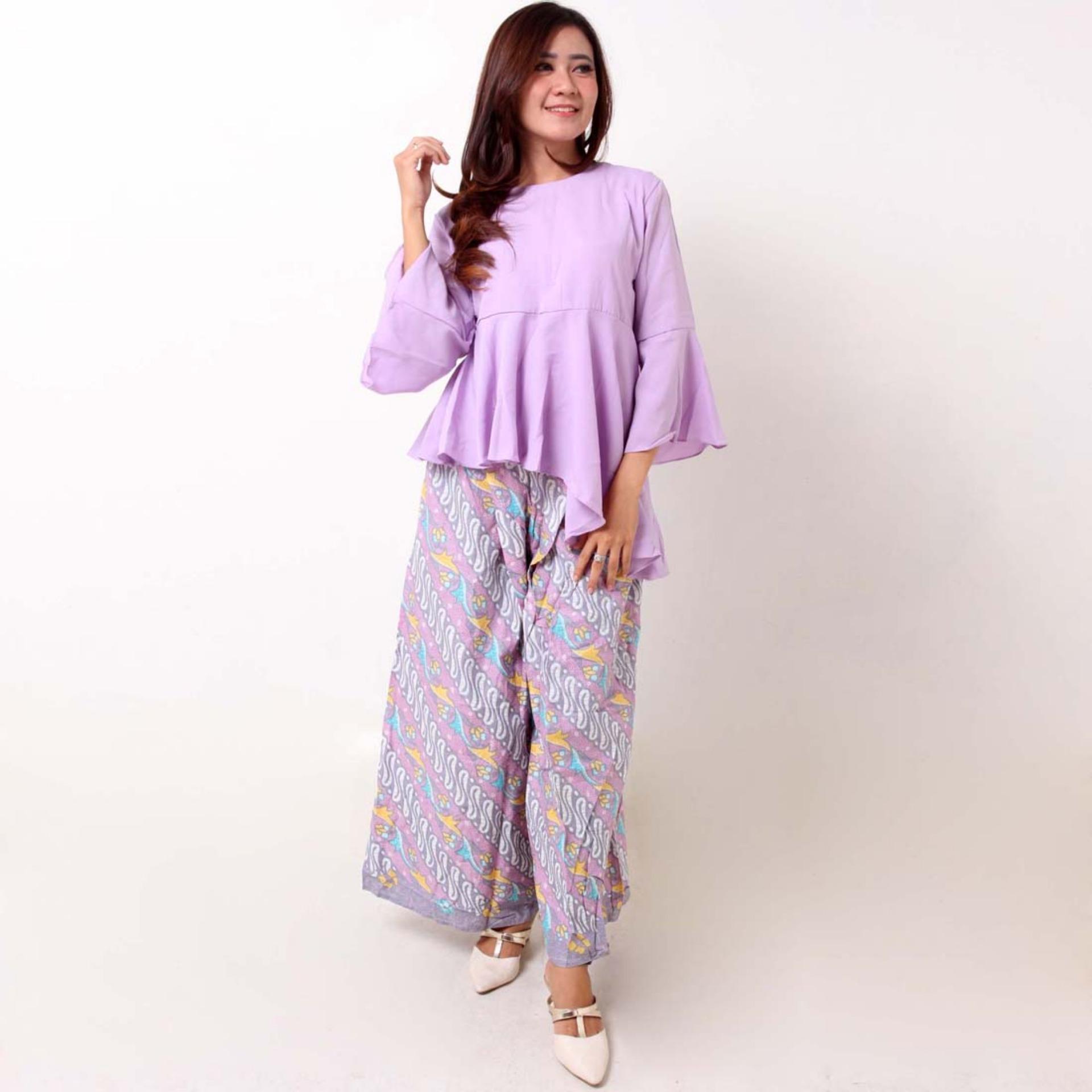 Batik Distro BA9073 Blus Celana Kulot Wanita - Ungu